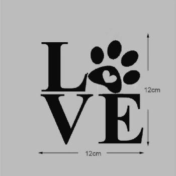Paw Print Love Dog Cat Pet Vinyl Decal Stickers Wine Glass Mug Car Window Craft